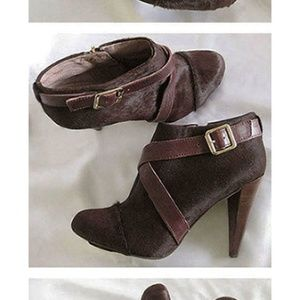 VINCE CAMUTO Pony hair buckle booties